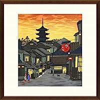 徳力富吉郎『祇園下河原・夕焼け』木版画