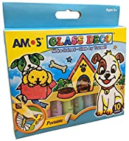Amos Peelable 10 Colour Glass Paints and Stain Kit with Outliners