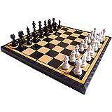 ZEYUGTIW チェス プラスチック チェス ゲーム インターナショナル チェス マグネット プラスチック チェス ピース フォールディング チェッカーボード キング 高さ 40mm
