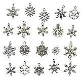ノーブランド品 40個 DIY クラフト 手芸用 シルバー 混合 スノーフレーク 雪の結晶 チャーム ペンダント