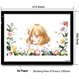 HUION HU-A3 A3 LED Light Pad, Size:480x360x8 (mm), Working Area: 430x310 (mm), Black