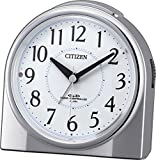 シチズン 電波 目覚まし 時計 アナログ ネムリーナリング 暗所 ライト 自動 点灯 銀色 メタリック CITIZEN 4RL432-019