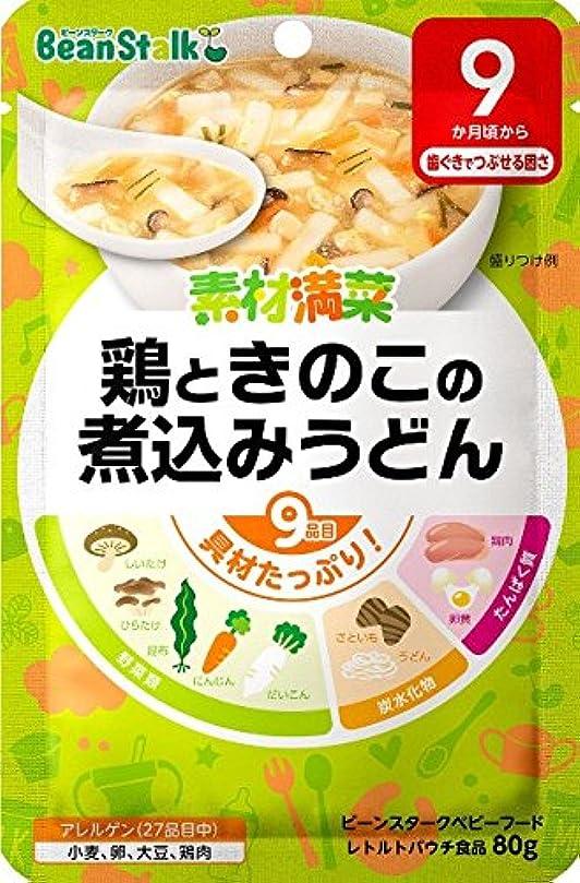 ビーンスタークベビーフード 素材満菜 鶏ときのこの煮込みうどん 80g(9ヶ月~)【3個セット】