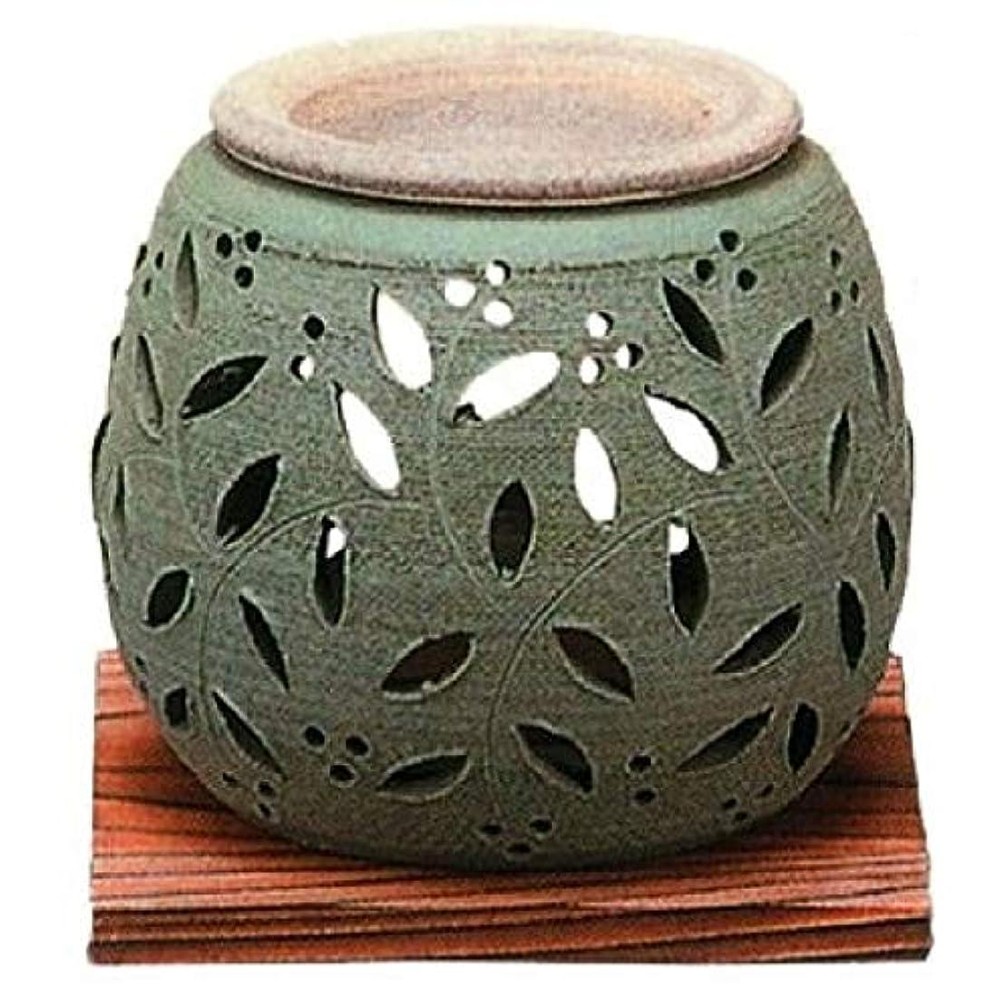 腸ホバー真面目な常滑焼?石龍窯 カ38-06 茶香炉 ダテ花 焼杉板付 径10×10cm