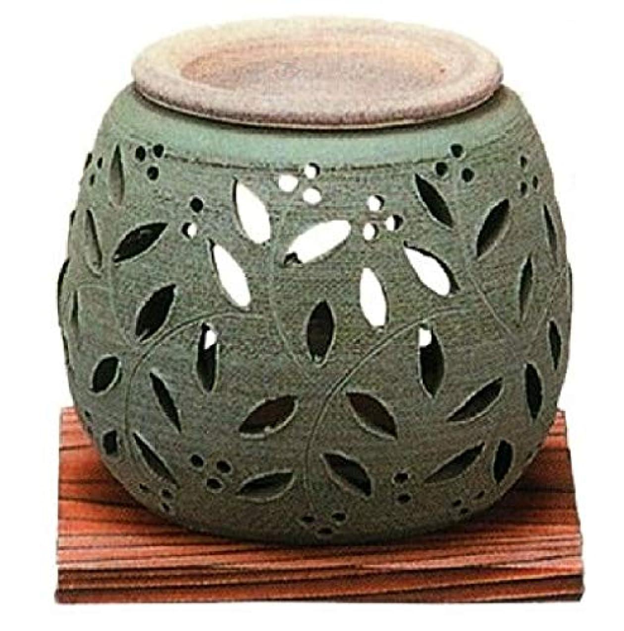 常滑焼?石龍窯 カ38-06 茶香炉 ダテ花 焼杉板付 径10×10cm