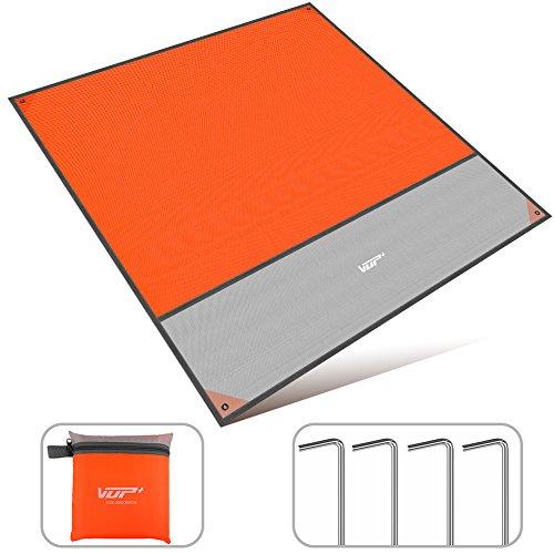 VUP 多機能 レジャーシート 防水性 2mx2m大きなサイズ 2-6人 軽量小型 収納袋付き 持ち運びやすい メーカー直営店 3年間保証 (オレンジ)