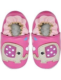 Kimi + Kai Kids Soft Sole Leather Crib Bootie Shoes - Happy Elephant