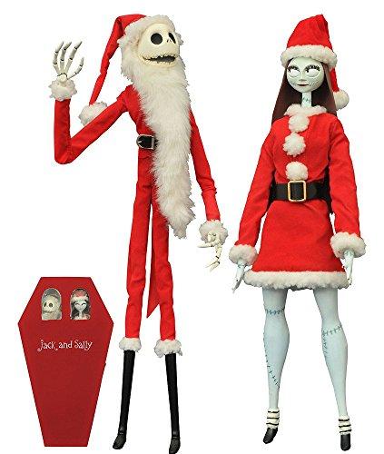 コフィンドール ナイトメアー・ビフォア・クリスマス ジャック・スケリントン&サリー(サンタ版) 高さ約41センチ プラスチック製 塗装済みアクションフィギュア