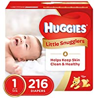 Huggies Little Snugglers Baby Diapers, Size 1, 216 Count (Packaging May Vary) (One Month Supply) by Huggies