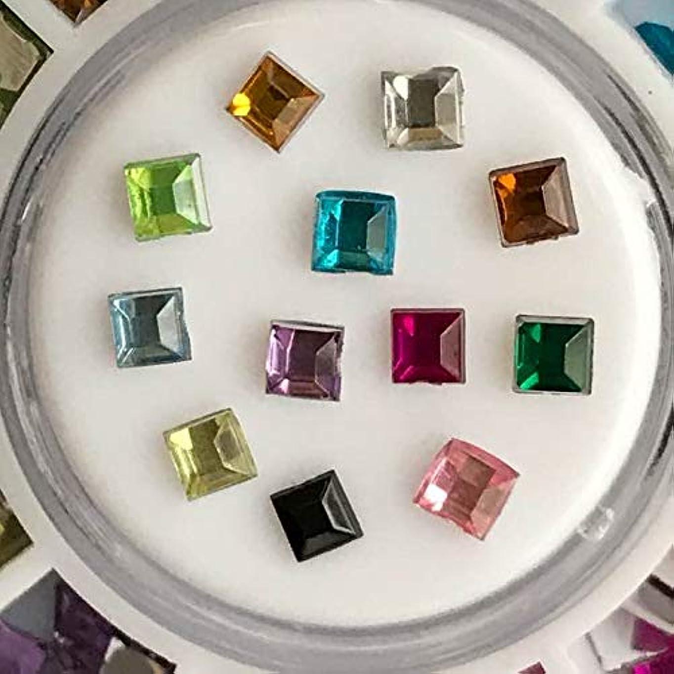 アクリルラインストーン12色セットネイル用DIYアクセサリーハンドメイド素材パーツ (スクエア四角形)