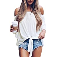 iooho Women's Solid Bell Sleeve Off Shoulder Blouse Tops Front Tie Knot Shirt