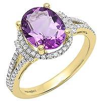 18K イエローゴールド 10 x 8mm オーバル 宝石 & ラウンド ホワイトダイヤモンド レディース スプリットシャンク ヘイロー 婚約指輪