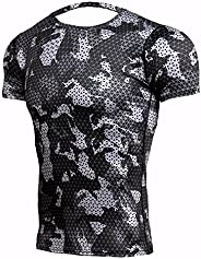 Men's Short Sleeve Sports Shirt, Lightweight, Training, Stretch, Outdoor, Indoor Activities, Undershirt, Q