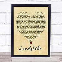 Landslide フリートウッド マック ヴィンテージ ハート 引用 ソング リリリック プリント Small A5