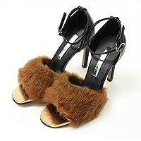 DONOBAN SELECT ドノバンセレクト ファーストラップサンダル ファーサンダル 9cmヒール ピンヒール アンクルベルト 美脚 シューズ 靴 くつ 合皮 レディース|24.5cm ブラウン