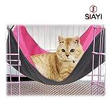 SIAYI(しあい)猫 ハンモック 猫 ハウス ペット用品 取り付け簡単 リバーシブル ナスカン付 バックル付 さわやか ふかふか 冬夏両用 猫 用 ハンモック 小動物用ペット用品 ピンク