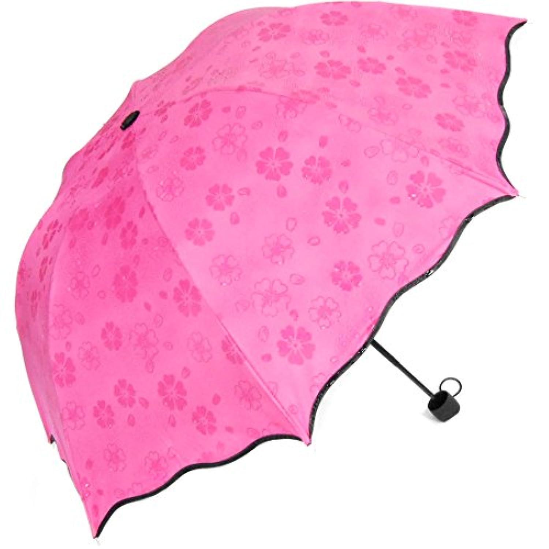 [KFアンブレラ]KF Umbrella kilofly AntiUV Folding Parasol Secret Blossom Water Magic Umbrella, UPF 40+, Red UBL320RED [並行輸入品]