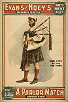 A Parlor一致古いHoss Scottish Bagpiperポスター 24 x 36 Signed Art Print LANT-4219-710