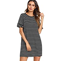 Floerns Women's Striped Short Sleeve Loose Swing T-Shirt Dress