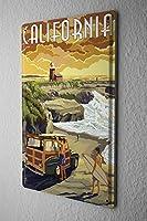 """アンティーク 看板 Globetrotter California室内装飾家、パブ、ビール、ガレージ、庭、コーヒー、寝室、リビングルーム8x12"""""""