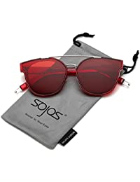 SojoSソホス ミラーレンズ 大きい 夏紫外線カット 女性 男性 サングラス SJ2038