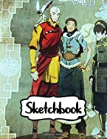 """Sketchbook: Sketchbook Soft Glossy 8.5"""" x 11"""" Blank Pages The Last Airbender Aang Katara Sokka Drawing Photo Artwork with Blank Lined Paper for Taking Notes Drawing Creative Doodling Writing Workbook for Teens and Children Students School Kids"""