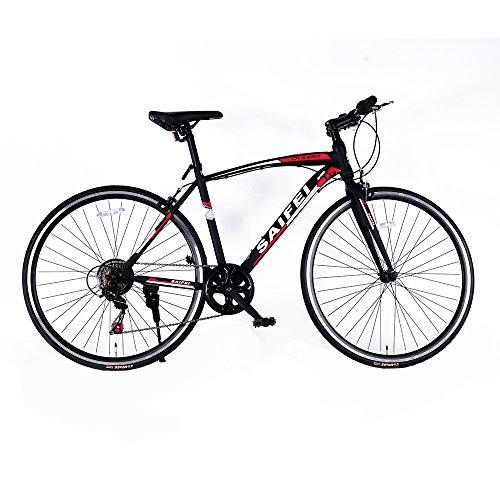 クロスバイク 700C シマノ7段変速 フラットハンドル 軽量 高炭素鋼フレーム 静電塗装 ライト・鍵付き 適用身長155cm以上 初心者 街乗り 通勤 通学 入学 就職 お祝い RS-02 (ブラック)