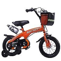 子供用自転車アウトドアマウンテンバイク2-3-6-8ボーイズとガールズ子供用玩具調節可能ハンドルバー/トレーニングホイール付きサドルウォーターボトルとホルダー-12/14/16/18インチ (色 : Orange, サイズ さいず : 12 inch)