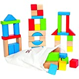 Hape カエデ材 子供用 組み立てブロック 積み重ね式 木製ブロック 教育玩具セット 幼児用 明るい色のピース50個 様々な形とサイズ(更新)