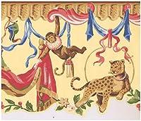 York Prepasted壁紙ボーダー - カラフルなカーテンスカラップイエロー子供のウォールボーダーレトロなデザインで東洋のサル、ロール15フィート。 X 9で。