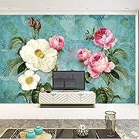 Bzbhart テレビの背景装飾画、壁用ステッカーカスタムウォールクロスヨーロッパスタイルの油絵ローズフラワー壁画壁紙リビングルームの寝室の壁の装飾壁紙-250cmx175cm