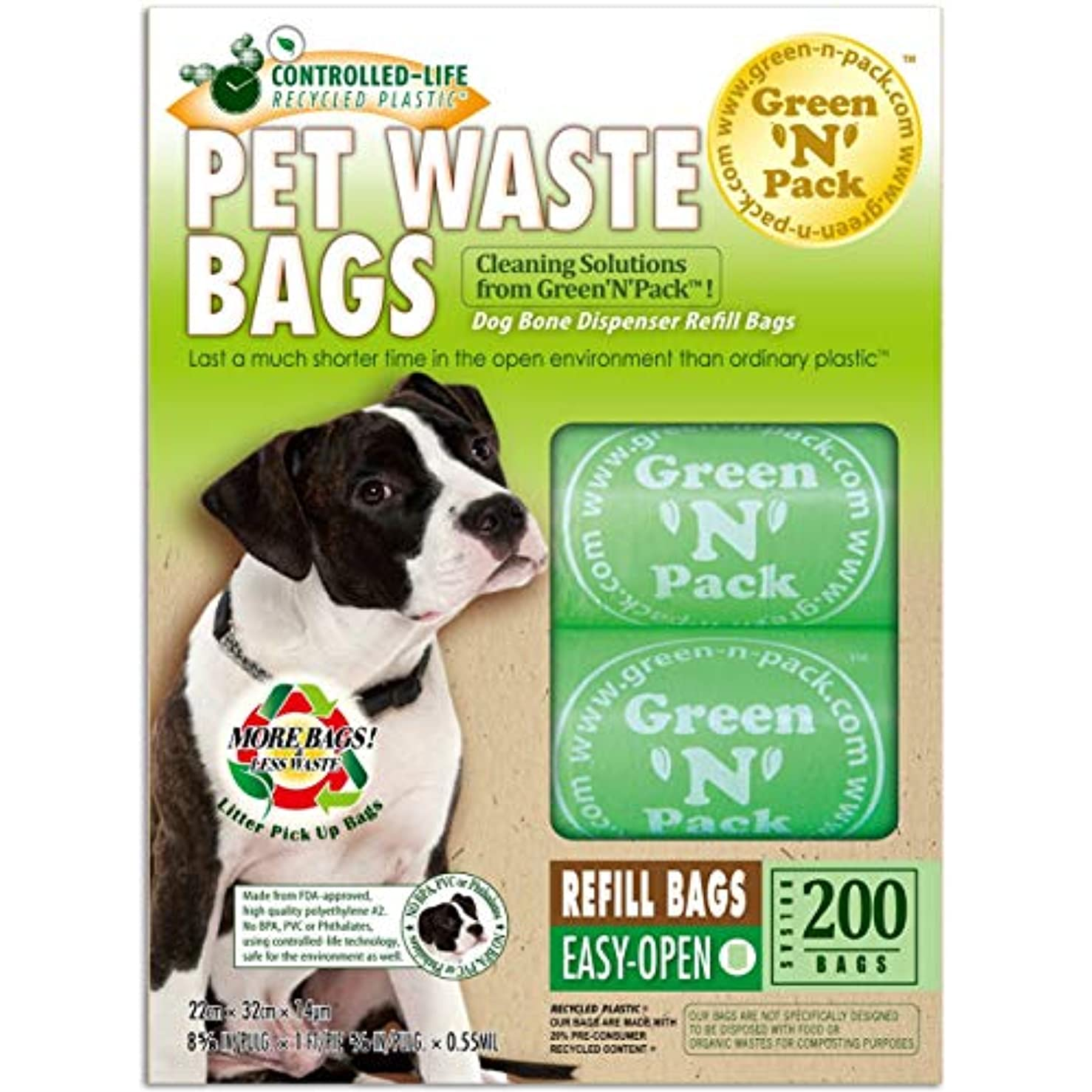 Green 'N' Pack Eco Friendly Bags - 犬Pooは日 75 パックを袋に入れる - 200バッグ