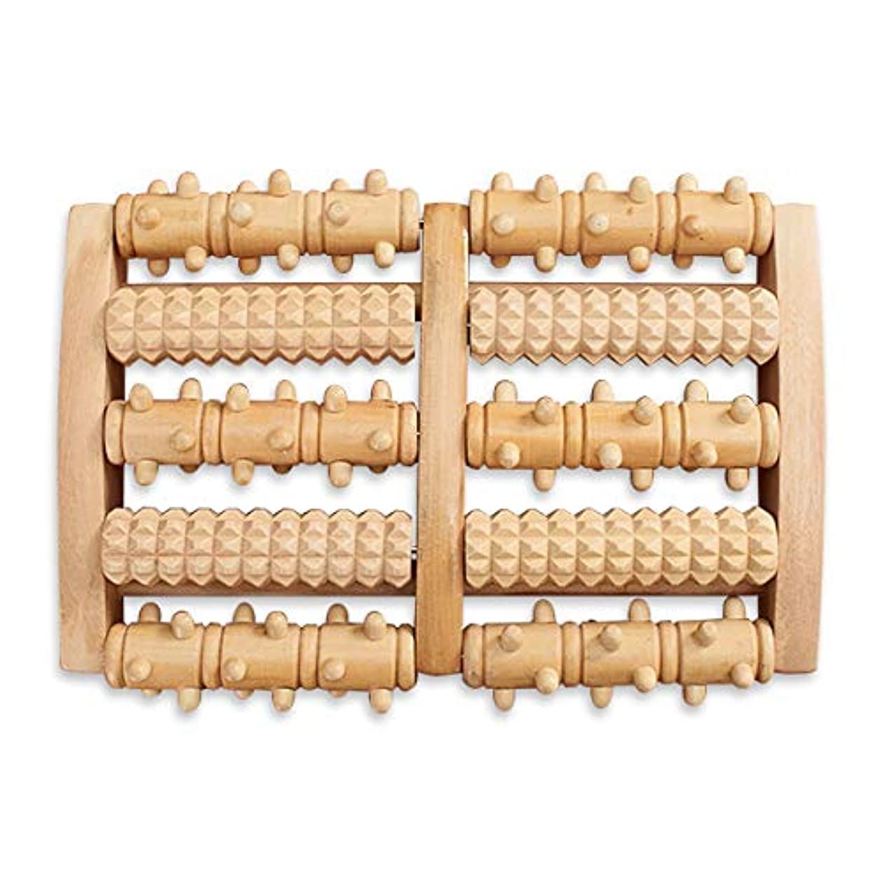 インスタンス捧げるブーストHAMILO フットローラー フットマッサージ器 足ツボ押し器 回転 木製 足裏 足つぼ 按摩 (ナチュラルウッド)