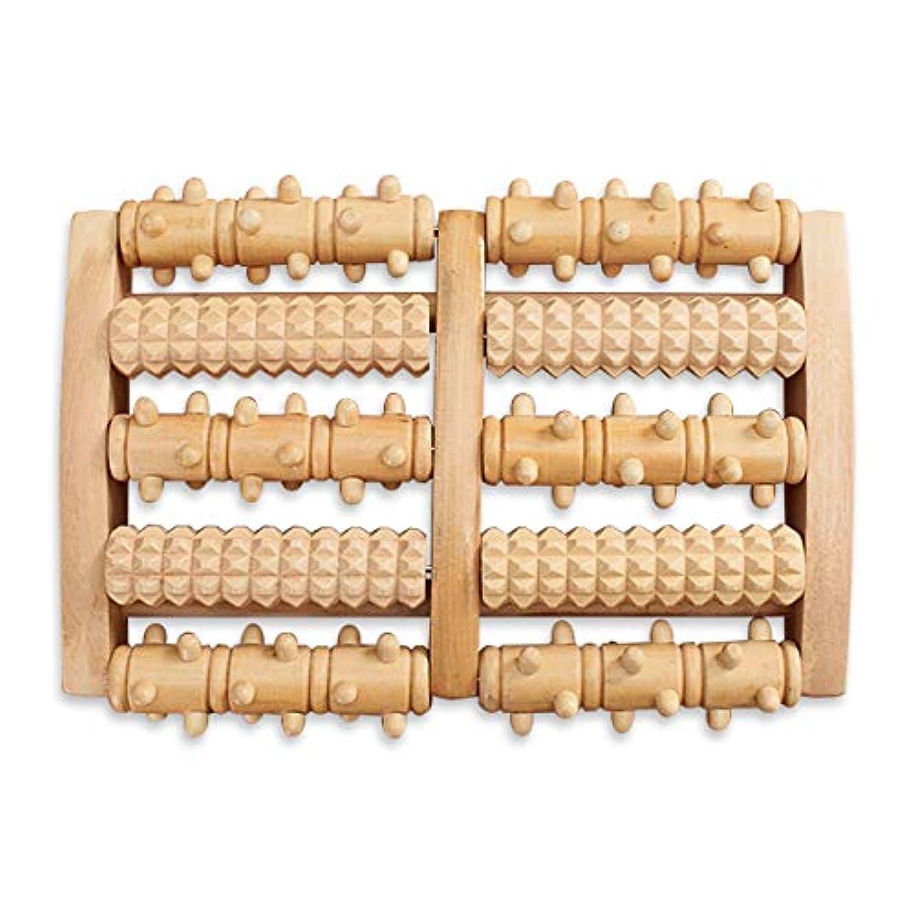 資源ゲスト小石HAMILO フットローラー フットマッサージ器 足ツボ押し器 回転 木製 足裏 足つぼ 按摩 (ナチュラルウッド)