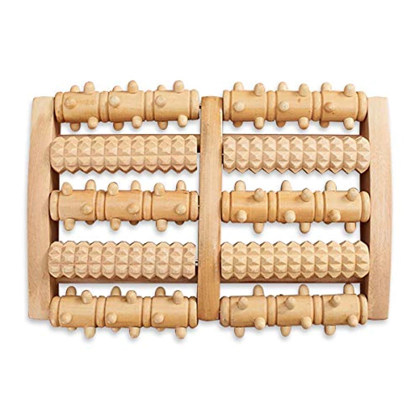 オーバーコート形クレアHAMILO フットローラー フットマッサージ器 足ツボ押し器 回転 木製 足裏 足つぼ 按摩 (ナチュラルウッド)