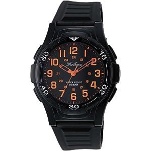 [シチズン キューアンドキュー]CITIZEN Q&Q 腕時計 Falcon ファルコン アナログ表示 10気圧防水 ウレタンベルト ブラック オレンジ VP84-853