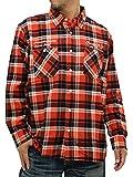 (スミスアメリカン) Smith's American 大きいサイズ シャツ メンズ チェックシャツ 長袖 ネルシャツ 刺繍 起毛 秋 3color 3L オレンジ