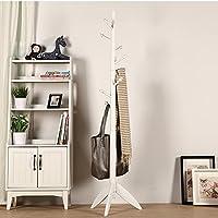 XRXY ソリッドウッドフロアリングコートラック/ベッドルーム現代ハンガー/粗い/ヨーロッパの服装シェルフサイズ:175 * 48 cm ( 色 : 白 )