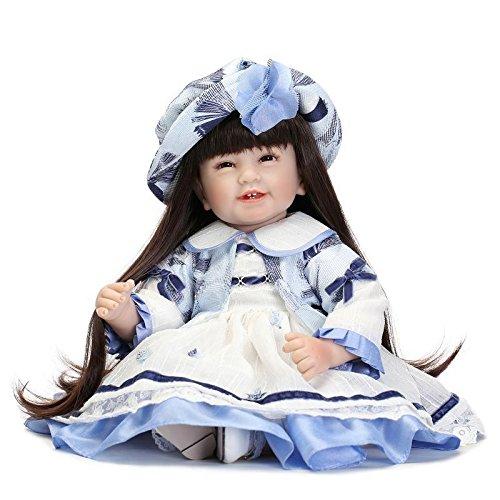 NPKDOLLラブリー玩具人形高ビニル22インチの55センチメートルリアルな少年少女のギフトブルーホワイトハットドレス 人形 Reborn Baby Doll A1JP