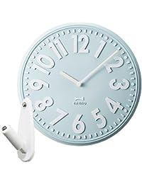 BRUNO ブルーノ エンボスウォールクロック + 壁の穴が目立ちにくい時計用壁掛けフック 2点セット BCW013 掛け時計 掛時計 壁掛け時計 壁掛時計 おしゃれ (ライトブルー)