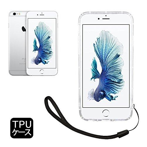 shizuka-will- Apple iPhone6 iPhone6S ケース カバー TPU ケース ソフト ケース ( 耐衝撃 / 透明 / 背面マイクロドット加工 / 衝撃吸収 / ストラップホール / ストラップ付 ) iPhone6 iPhone6S docomo au softbank スマホ ケース (iPhone6/6s, クリア)