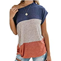 chenshiba-AU Womens Scoop Neck Contrast Color Half Shoulder Batwing Sleeve Tops Shirt Blouse