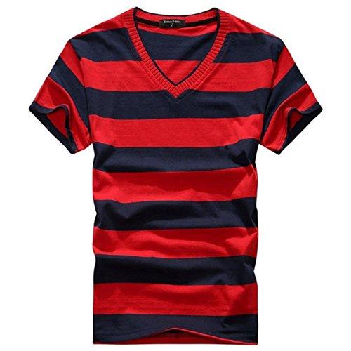 (リザウンド)ReSOUND メンズ 半袖 シャツ ボーダー トップス アカクロ 2XL コットン ビッグサイズ フリー でこぼこ 柄 Vネック ネックライン 合コン 派手 オシャレ 海 浜辺 へやぎ はる なつ ふく おでかけ 定番 赤黒 2XL 430