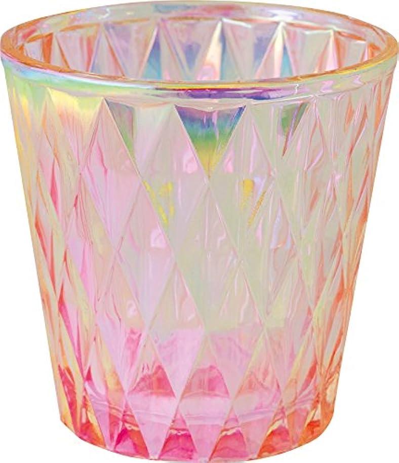 リボン威信騒カメヤマキャンドルハウス オーロラダイヤグラス キャンドルフォルダー ピンク