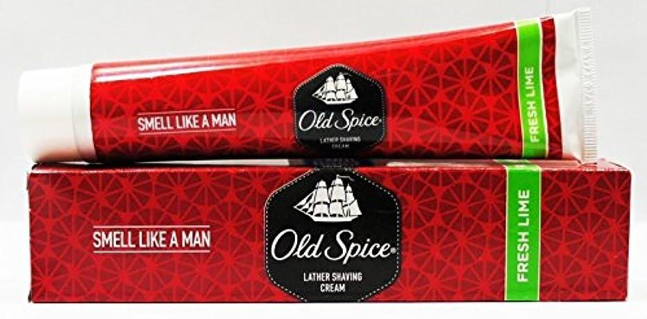 珍味ユーモア保護Old Spice Lather Shaving Cream - Fresh Lime (Pack Of 4) 70 G