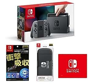 【Amazon.co.jp限定】【液晶保護フィルム多機能付き(任天堂ライセンス商品)】Nintendo Switch Joy-Con(L)/(R) グレー+HARD CASE for Nintendo Switch ブラック+マイクロファイバークロス