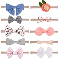 ALINK Baby Girl Headbands and Bows Soft Children's Hair Band Newborn Infant Toddler Hair Accessories Nylon 10-Pack