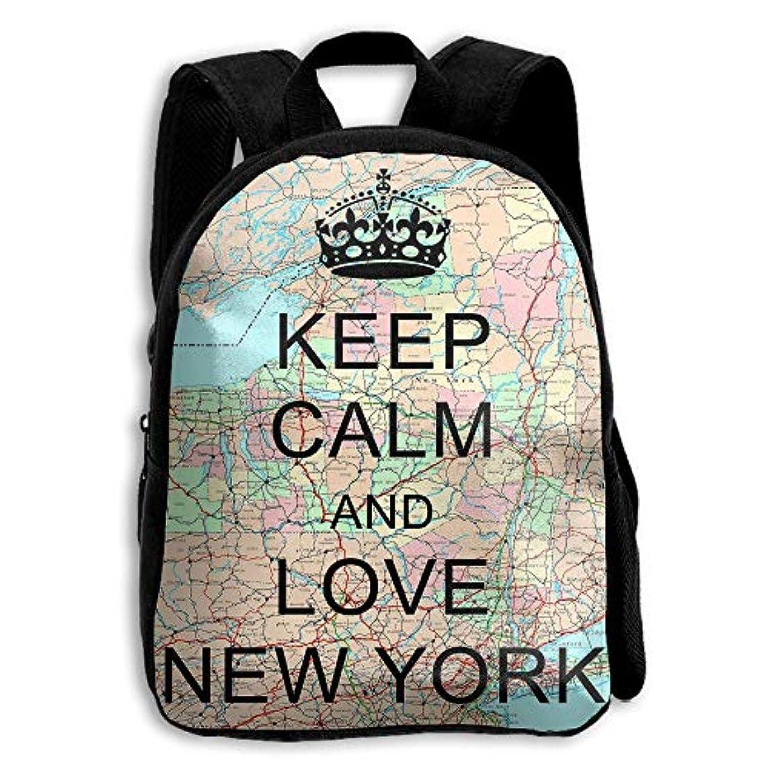 特性紳士参照するキッズ バックパック 子供用 リュックサック Keep Calm And Love New York ショルダー デイパック アウトドア 男の子 女の子 通学 旅行 遠足