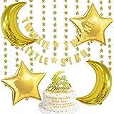 ゴールドベビーシャワー装飾 女の子 男の子 誕生日 100日 キラキラ アルミバルーン 月 ライト スター 星 ガーランド ケーキトッパー バナー 風船