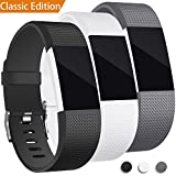 For Fitbit Charge 2 Band, Hotodeal Classic Soft TPU Adjustable Replacement Bands Fitness Sport Strap for Fitbit Charge 2, Rose Gold Buckle, Small Large